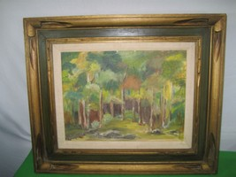 Vintage Oil Painting on Canvas Board Titled TREES Artist Helen Campbell - $38.56