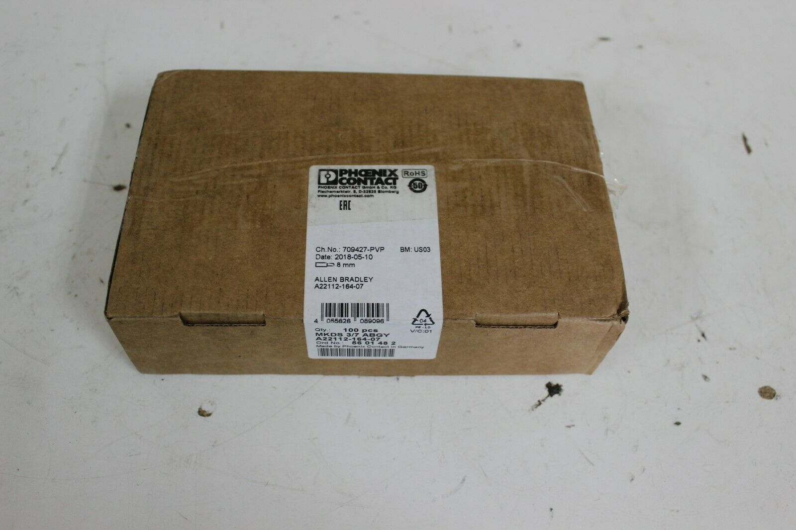 Phoenix Contact MKDS 3/7 ABGY, 5601482 PCB Screw Terminals New Pack of 100