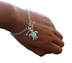 Turtle Glowing Bracelet Silver Plated Bronze Jewelry Blue Green Color 7 ... - $11.50