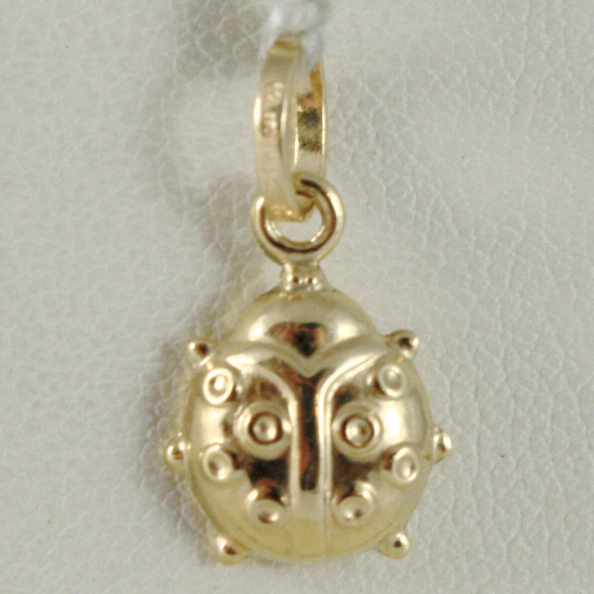 18K YELLOW GOLD ROUNDED LADYBUG PENDANT CHARM 18MM SMOOTH LADYBIRD MADE IN ITALY