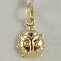 18K YELLOW GOLD ROUNDED LADYBUG PENDANT CHARM 18MM SMOOTH LADYBIRD MADE IN ITALY image 1