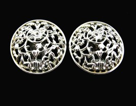 Sarah Coventry FROZEN LACE Silvertone  EARRINGS Vintage Clip On Round Dome - $14.99