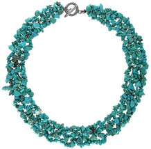Bling Jewelry Stabilized Turquoise Gemstone Chunky Cluster Bib Chips Sta... - $58.86