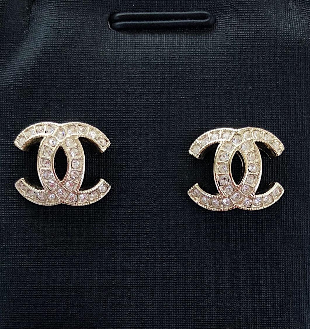 Authentic Chanel Galaxy Crystal Cc Classic Logo Stud