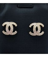 Authentic CHANEL 2017 GALAXY CRYSTAL CC Classic Logo Stud Earrings Gold  - $429.00