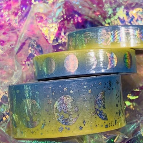 SEALED Papergeek Paper Geek 3x Spring Yellow Blue Silver Holo Foil WASHI Tapes