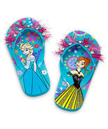 Disney Store Girls Anna & Elsa - Frozen - Flip Flops Sandals Blue - $12.50