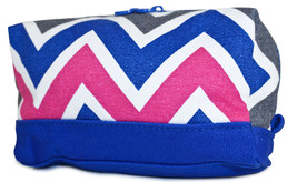 Womens Chevron Cosmetic Makeup Bag Pouch Zippered Zipper Teal Blue Ladie... - $6.84