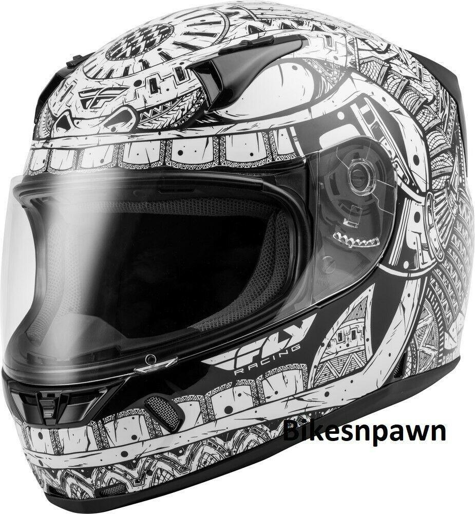 Adult L Fly Racing Revolt Codex Motorcycle Helmet White/Black DOT & Snell
