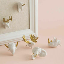 Animal Push Pins Set 6 by U Brands White Gold Elephant Buck Moose Rhino Unicorn image 4