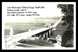 Floating Bridge Real Photo Postcard Seattle Lake Early Cars Johnston WA RPPC - $8.99