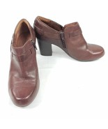 Clarks Brown Leather Heeled Booties Size 7.5 Model 66986 - $45.00