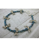 """DRAGONFLY ANKLET 9.5""""  SHOE JEWELRY blue beads - $16.82"""