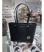 NWT Michael Kors Jet Set Travel Small Top Zip Shoulder Tote Black/Gold - $116.35