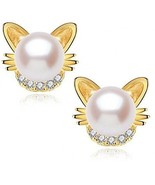 Gold Plated S925 Silver Cat Freshwater Cultured Pearl Earrings Ear Studs - $59.54