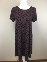 Lularoe S Small Black Red Blue Floral Sun Geometric Carly Dress Womens - $25.99