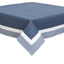 "BLUE WHITE STARS GINGHAM LACE 100% COTTON 150 X 150CM – 59"" X 59"" TABLE ... - $64.79"