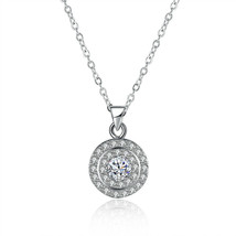 Platinum Plated Silver 2ct Cubic Zirconia Halo Necklace - $7.85