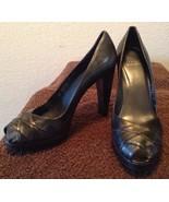 Stuart Weitzman Open Toe Pewter Leather High Heels Pumps Size 9M - $27.97