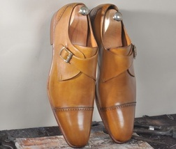 Handmade Men's Tan Leather Dress/Formal Monk Strap Shoes image 4