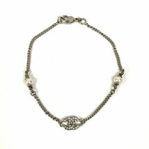 Chanel rhinestone bracelet Silver fake pearl COCO accessories Ladies Rec... - $421.85
