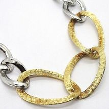 Silver 925 Necklace, Chain Grumetta Oval, White & Yellow Alternating, Curb image 3