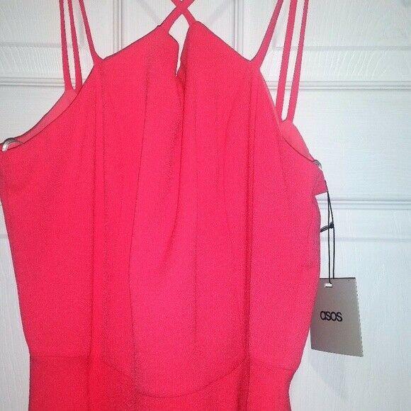 NWT ASOS Deep V Back Midi Dress Sz 8