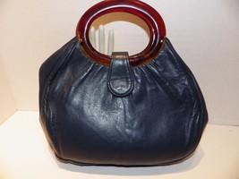 Vintage 1960s Handbag Double Tortoise Handles Navy Blue Leather Bermuda Bag - $19.79
