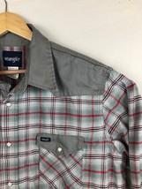 Vtg Wrangler Mens Red And Grey Plaid Thick 2XT Tall Pearl Snap Shirt - $18.59