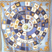 CARTIER Scarf Stole Silk Jewelry Accessory Gold Charm Blue Auth Mint Rar... - £210.67 GBP