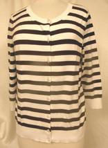 TALBOTS Pima Cotton Striped Cardi Slim Fit 3/4 Sleeve  Brown & White Sz L - $13.72