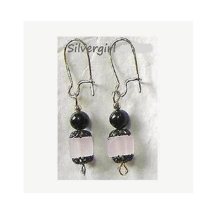 Pink lead crystal cube black pearl earrings