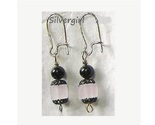 Pink lead crystal cube black pearl earrings thumb155 crop