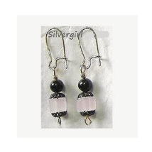 Lead Crystal Cube Swarovski Dangle Earrings Pink - $8.99