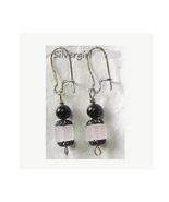 Pink lead crystal cube black pearl earrings thumbtall