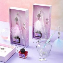 Glass Pen Gift Box Dream Catcher Diamond Fountain Painting Writing Art ... - $20.45