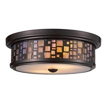 Elk 70027-2 Tiffany 2-Light Flush Mount, 4-Inch, Oiled Bronze With Tea S... - $246.99