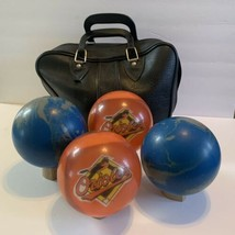 Vintage Duck Pin Bowling Balls Clear (2) Baltimore Orioles Logo & (2) Bl... - $250.00