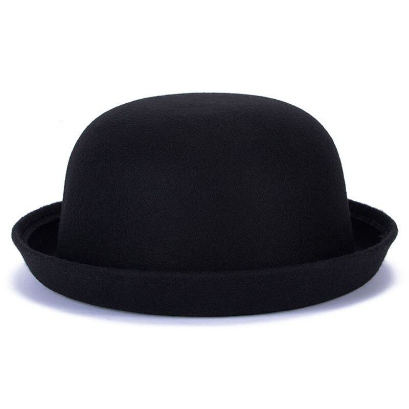 Vintage Wool Winter Hats For Women Ladies Fashion Bowler Derby Fedora Cap Floppy