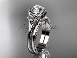Charles & Colvard Moissanite Flower platinum engagement ring ADLR375S - €1.926,33 EUR