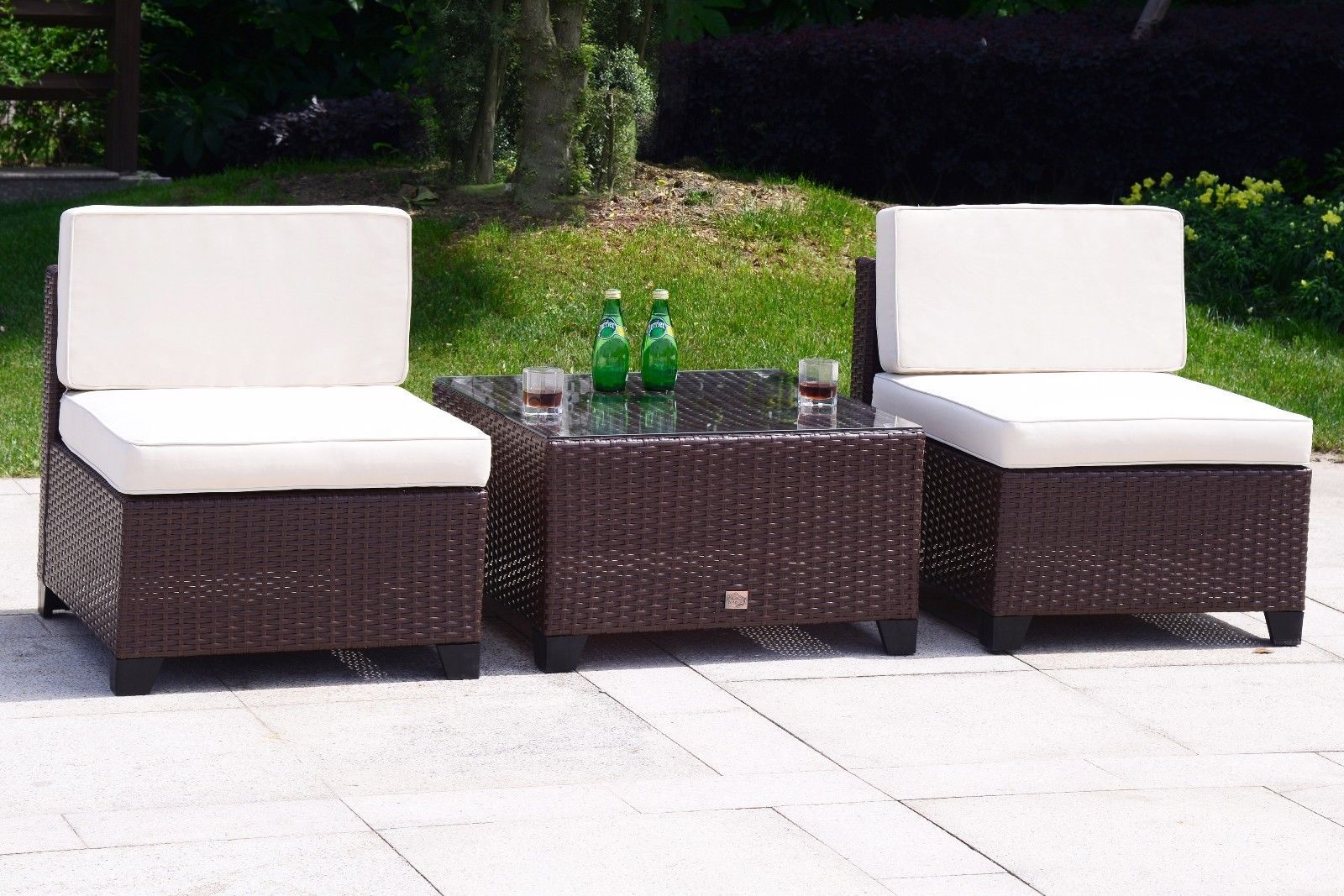 5 PC Rattan Wicker Sofa Set Cushioned Sectional Outdoor Garden Patio Furniture