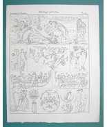 MYTHOLOGY Gods Paris Helena Artemis Aurora Raven Maryas - 1825 Antique P... - $9.79