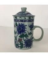 Blue Red Floral Chinese Porcelain Loose Leaf Tea Brewing Mug Cup Lid Inf... - $28.69