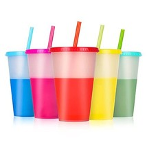 Reusable Tumblers with Lids and Straws - 5 Pack 16 oz Skinny Acrylic Cold - $23.74