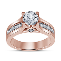 Brilliant Cut Diamond 14K Rose Gold Plated 925 Silver Solitaire W/ Accen... - $72.50