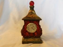 "Antique Finish Shelf Clock, Quartz Movement Brown, Green, Gold 10.25"" Tall - $37.13"