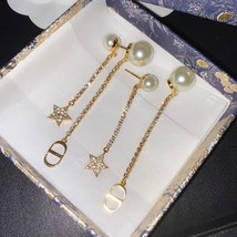 AUTH Christian Dior 2020 GOLD CRYSTAL J'ADIOR DANGLE STAR PEARL EARRINGS  image 10