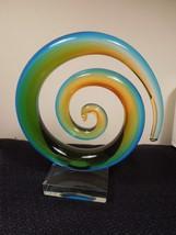 Beautiful Hand Blown Swirl Wave Murano Glassware Modern Abstract Art Glass - $88.21