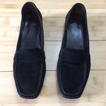 EUC Stuart Weitzman loafers flats leather Suede moccasins black 8 - $38.00