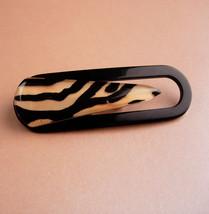 "LARGE Vintage bakelite brooch 3 1/2"" - paperclip shape - celluloid leopa... - $125.00"